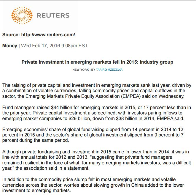 Pdf: Private investment in emerging markets fell in 2015: industry group - Stonehard