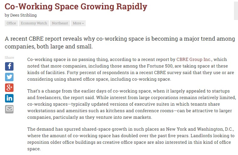 Pdf: Co-working space growing rapidly - Stonehard