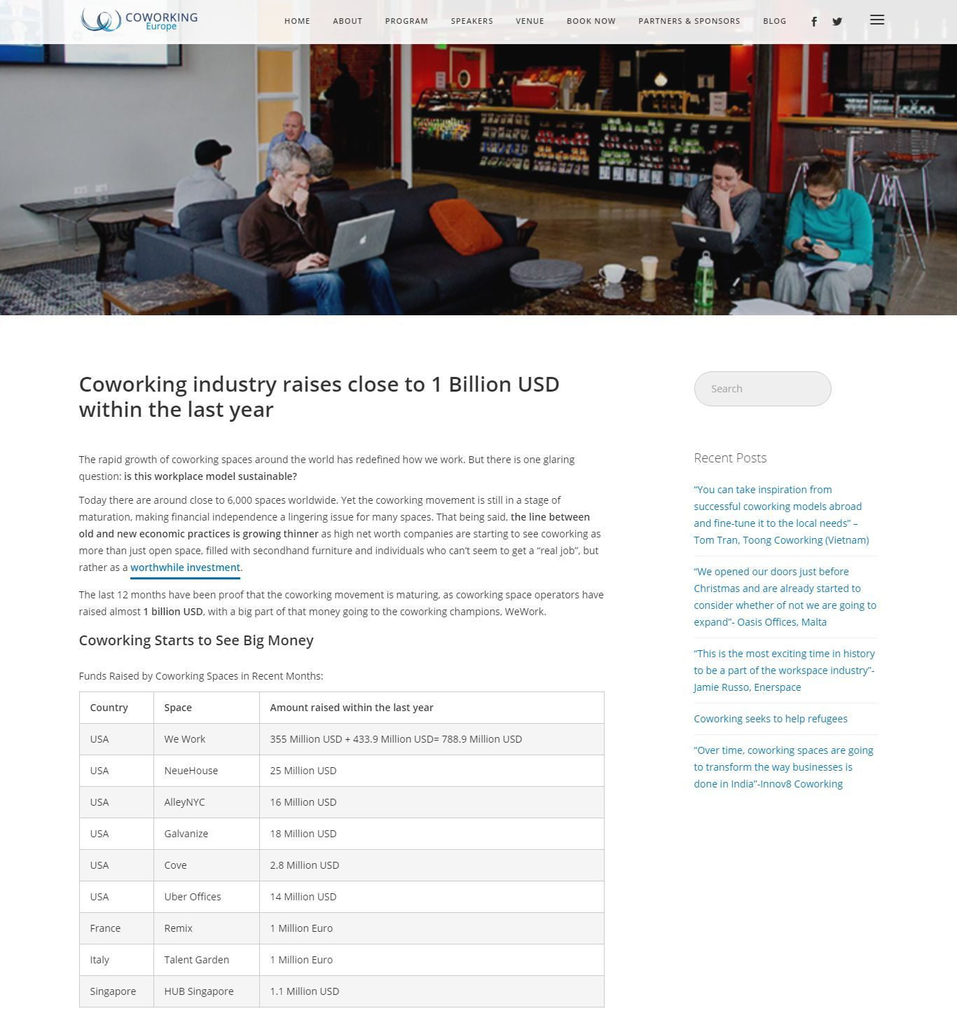 Pdf: Coworking industry raises close to 1 Billion USD within the last year - Stonehard