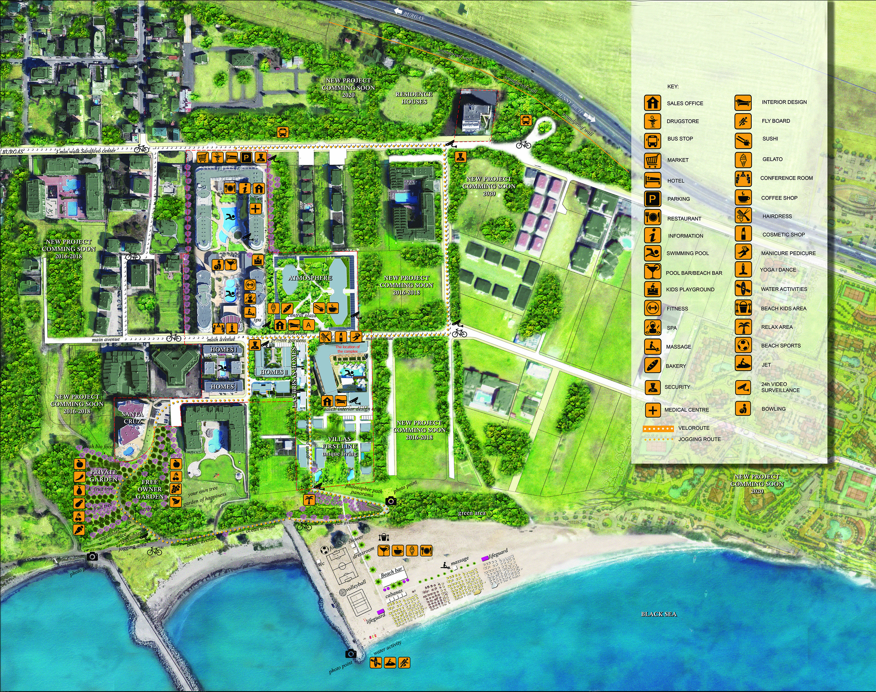 Master Plan: Waterfront gated complex with private beach