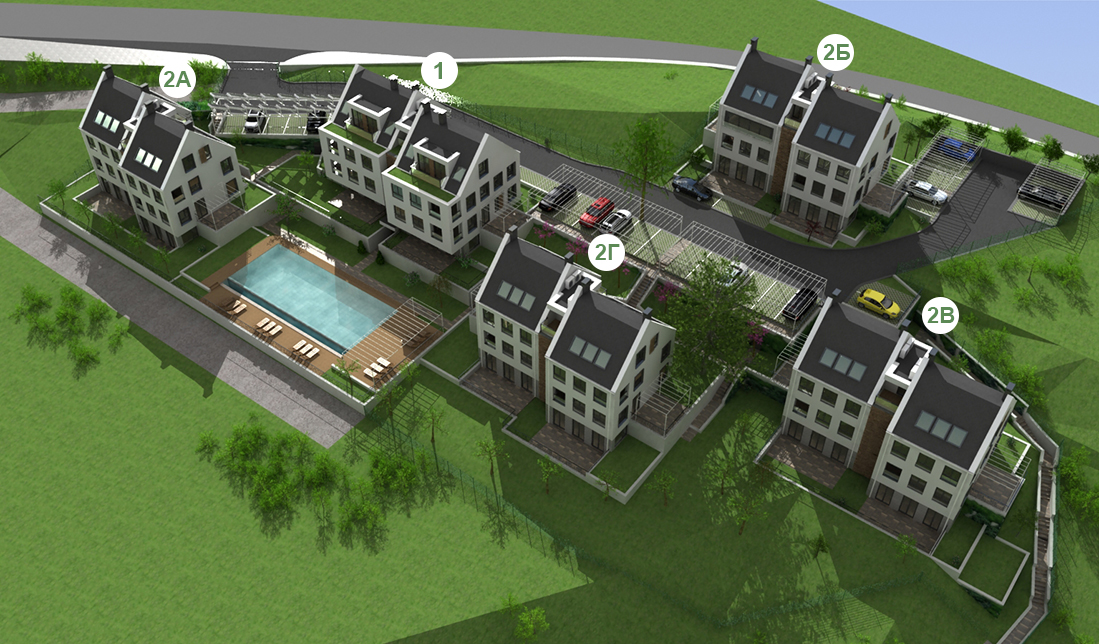 Master Plan: Apartments in low-rise residential buildings in a green area